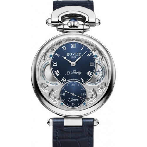 BOVET 19-THIRTY ENGRAVING STEEL ROMAN NUMERALS BLUE DIAL, 42MM
