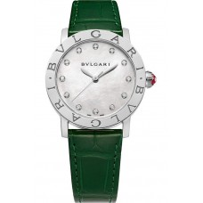 BVLGARI BVLGARI STEEL WHITE MOTHER OF PEARL DIAMONDS INDEXES GREEN ALLIGATOR STRAP 33MM - 102746