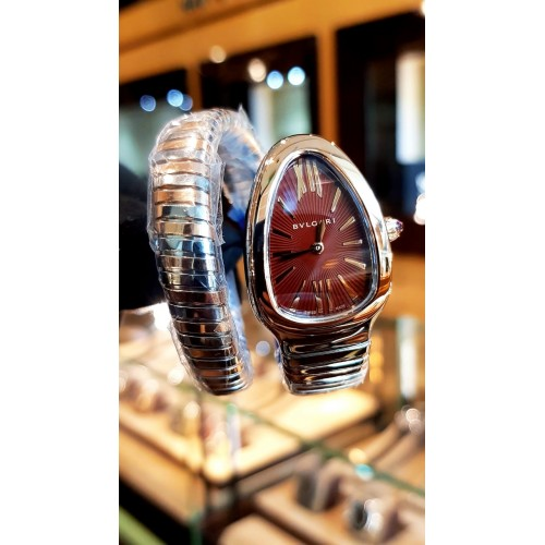 BVLGARI SERPENTI TUBOGAS STEEL AND GOLD BROWN DIAL 35MM - 103287