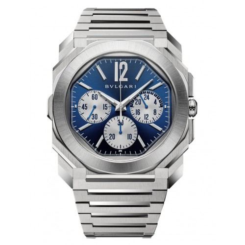 BVLGARI OCTO FINISSIMO CHRONOGRAPH GMT BLUE DIAL STAINLESS STEEL 43MM - 103467