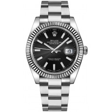 ROLEX DATE JUST  FLUTED BEZEL BLACK DIAL OYSTER  STAINLESS STEEL 41MM -126334