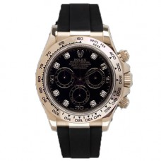 Rubber B Rolex Daytona Watch Jet Black Leather Strap