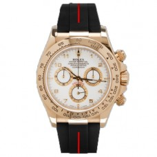 Rubber B Rolex Daytona Watch Couture Red/Black Leather Strap