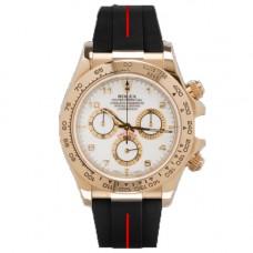 Rubber B Rolex Daytona Watch VulChromatic Red/Black Leather Strap