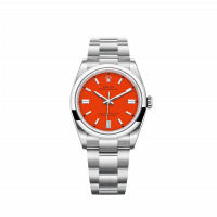 ROLEX OYSTER PERPETUAL STAINLESS STEEL CORAL RED DIAL 36MM - 126000