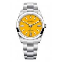 ROLEX OYSTER PERPETUAL STAINLESS STEEL YELLOW DIAL 41MM - 124300