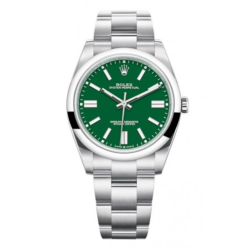 ROLEX OYSTER PERPETUAL STAINLESS STEEL GREEN DIAL 41MM - 124300
