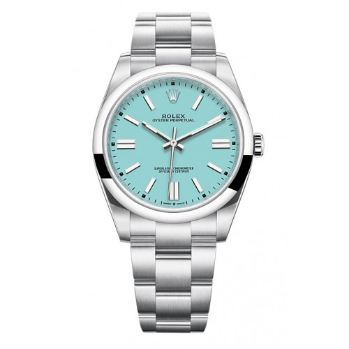 ROLEX OYSTER PERPETUAL STAINLESS STEEL TURQUOISE BLUE DIAL 41MM - 124300