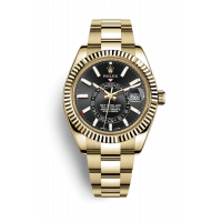 ROLEX SKY-DWELLER YELLOW GOLD BLACK DIAL 42MM - 326938