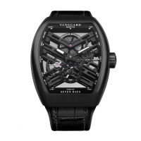 FRANCK MULLER VANGUARD ALL BLACK SKELETON STEEL V45 S6 SQT TT NR BR
