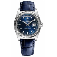 Rolex Day Date Fluted Bezel White Gold Blue Index Dial