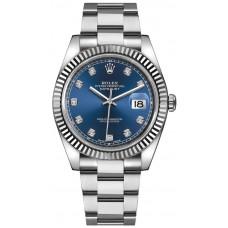 ROLEX DATE JUST STEEL DIAMONDS BLUE OYSTER BRACELET 41MM - 126334