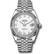 ROLEX DATE JUST STAINLESS STEEL FLUTED BEZEL JUBILEE ROMAN NUMERALS 41MM - 126334